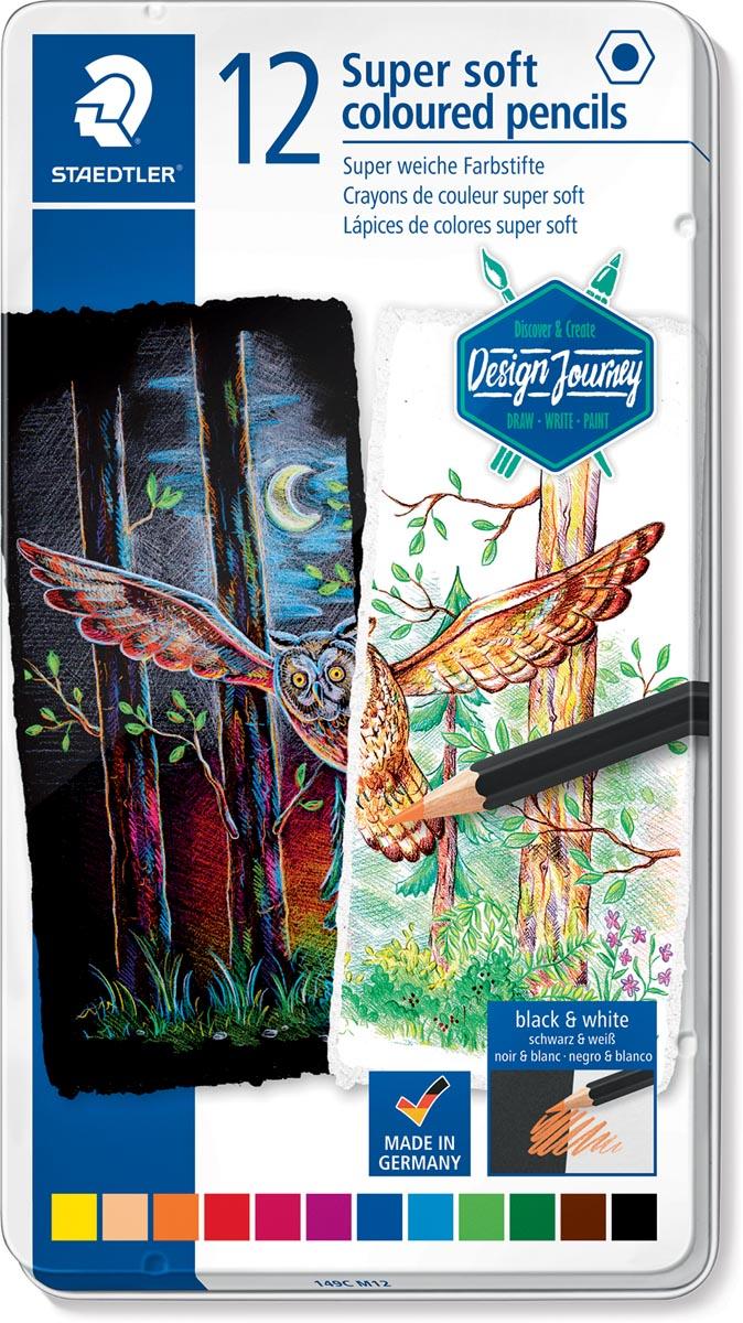 Staedtler kleurpotlood Design Journey Super Soft, metalen doos met 12 kleuren