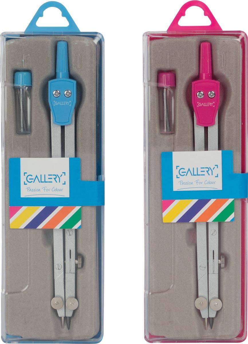 Gallery Passion For Colour passer, doos van passer en kokertje met potloodvulling, blauw en roze