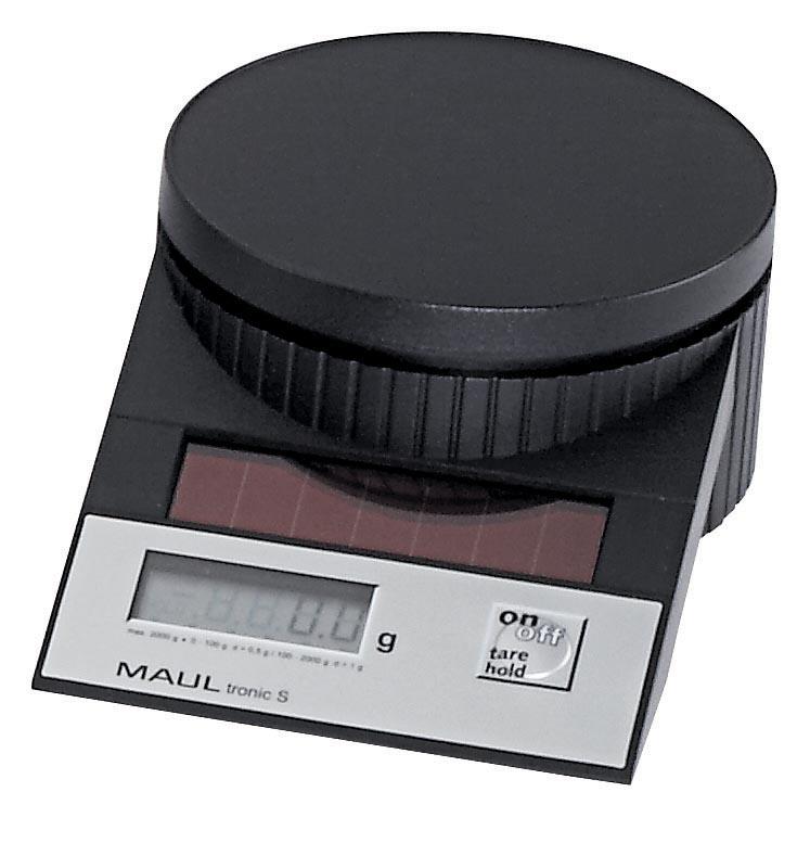 Maul postweegschaal MAULtronic, weegt tot 2 kg, gewichtsinterval van 0,5 gram, zwart