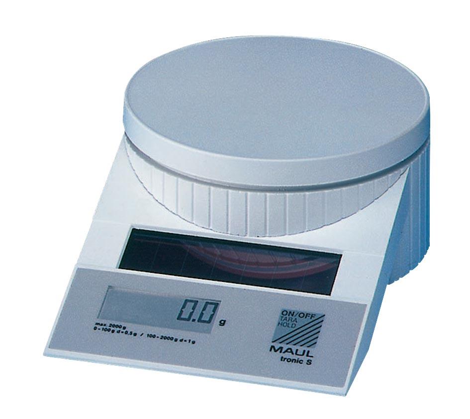 Maul postweegschaal MAULtronic, weegt tot 2 kg, gewichtsinterval van 0,5 gram, wit