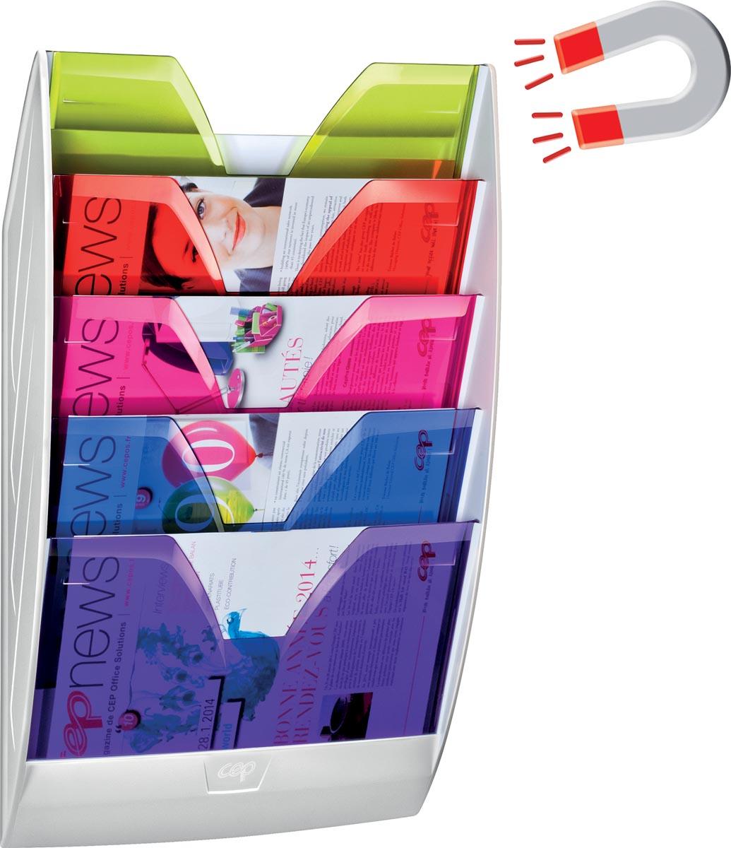 Happy by CEP magnetische wandfolderhouder met 5 compartimenten, wit/geassorteerde kleuren