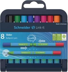 Schneider balpen Slider Link-it, opstelbaar etui van 8 stuks in geassorteerde kleuren