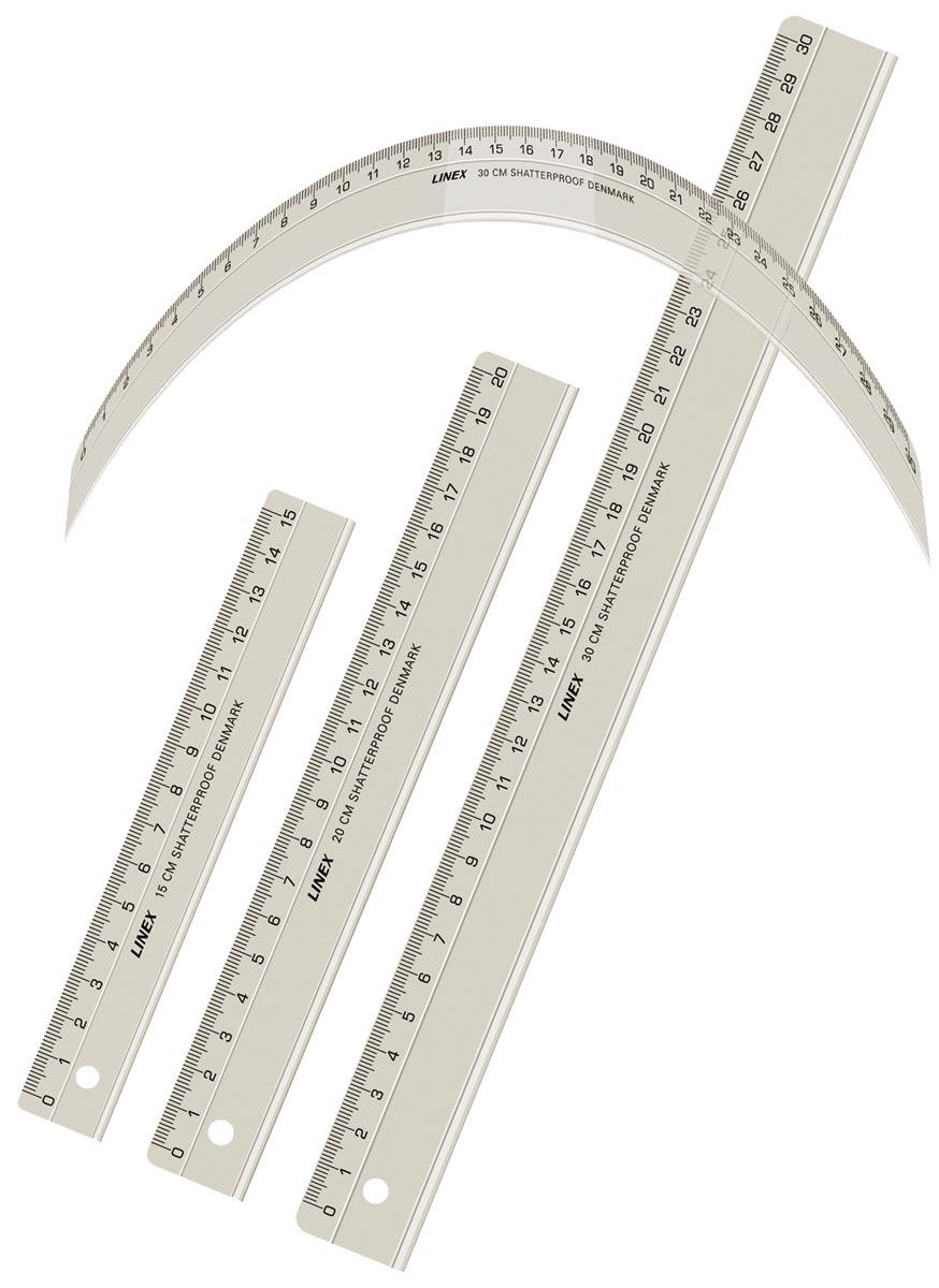 Linex onbreekbare liniaal, transparant, 30 cm