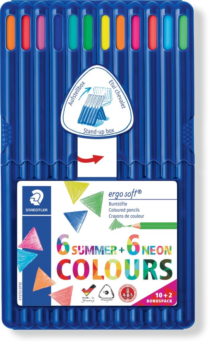 Staedtler kleurpotlood Ergosoft 157, driekantig, etui van 12 stuks in geassorteerde kleuren
