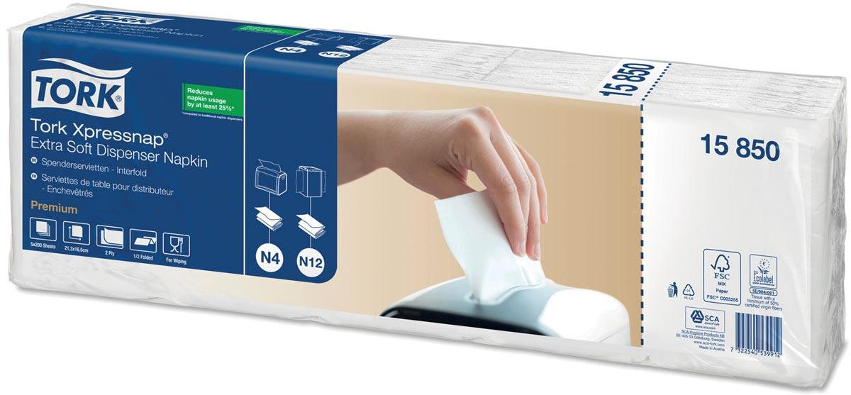 Tork servetten Expressnap Extra zacht voor dispenser, 2-laags, 1000 per bundel