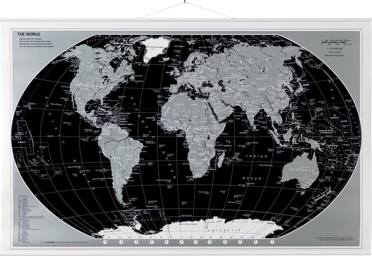 Naga wereldkaart 97 x 67 cm zwart/zilver, op rol