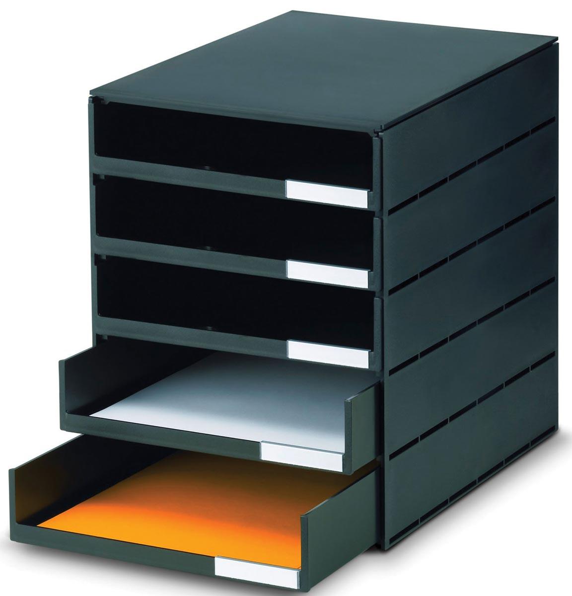 Styro ladenblok Styroval met 5 open laden, zwart
