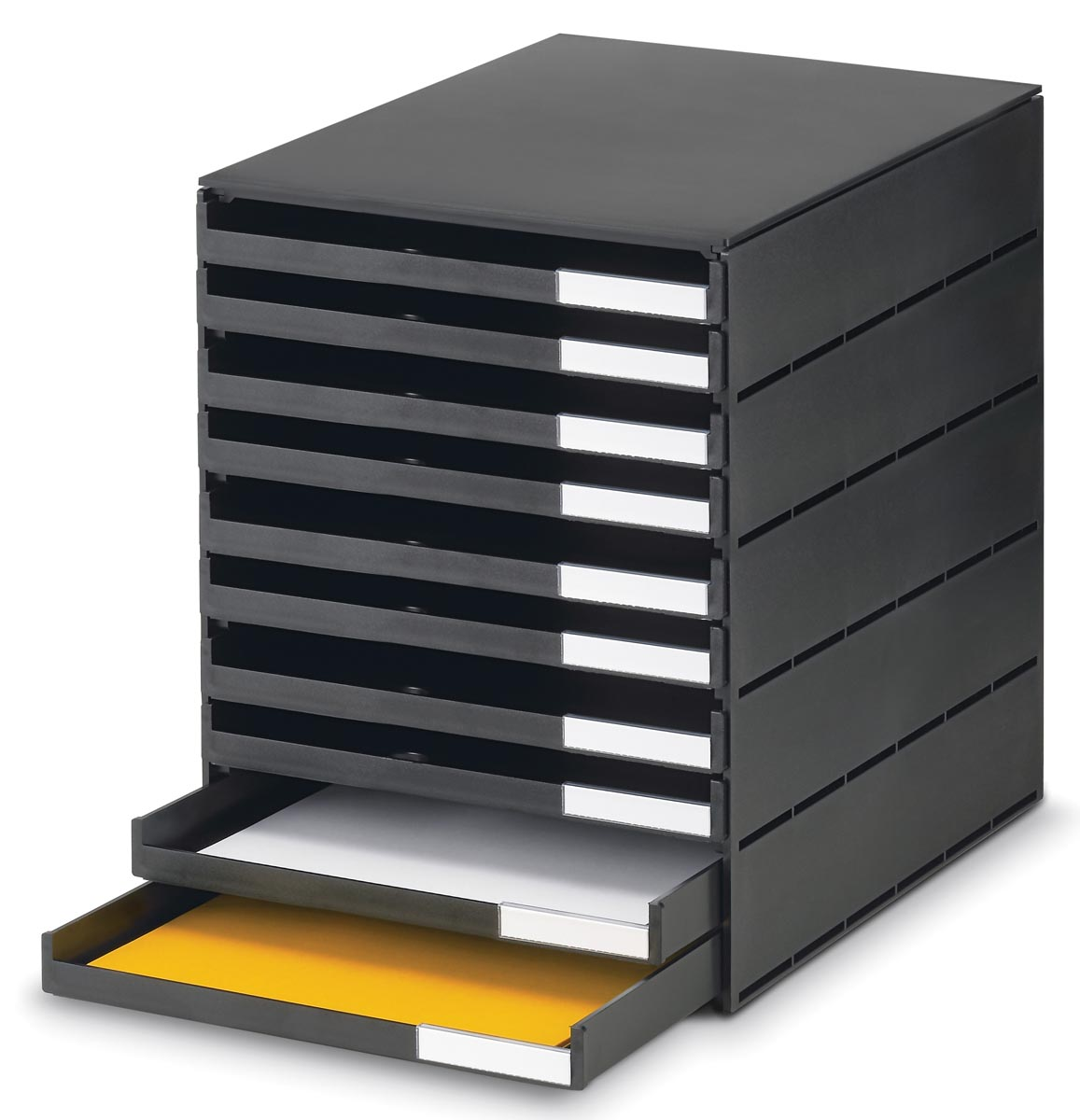 Styro ladenblok Styroval met 10 open laden, zwart