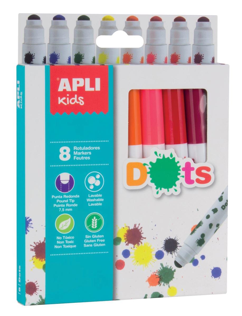 Apli Kids viltstift Dots, blister met 8 stuks