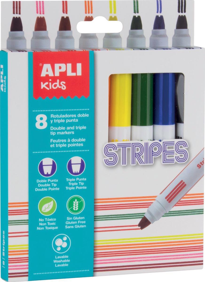 Apli Kids viltstift Stripes, blister met 8 stuks