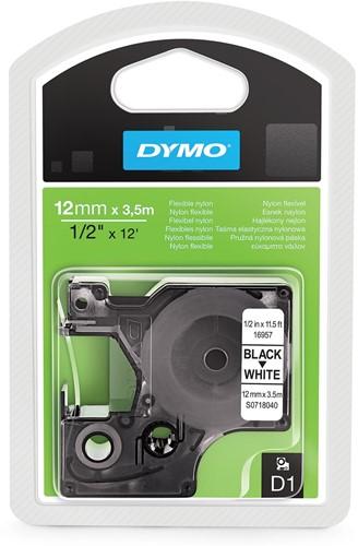 Dymo D1 flexibele nylontape 12 mm, zwart op wit