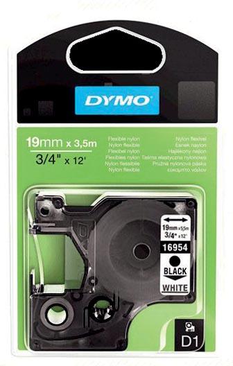 Dymo D1 flexibele nylontape 19 mm, zwart op wit