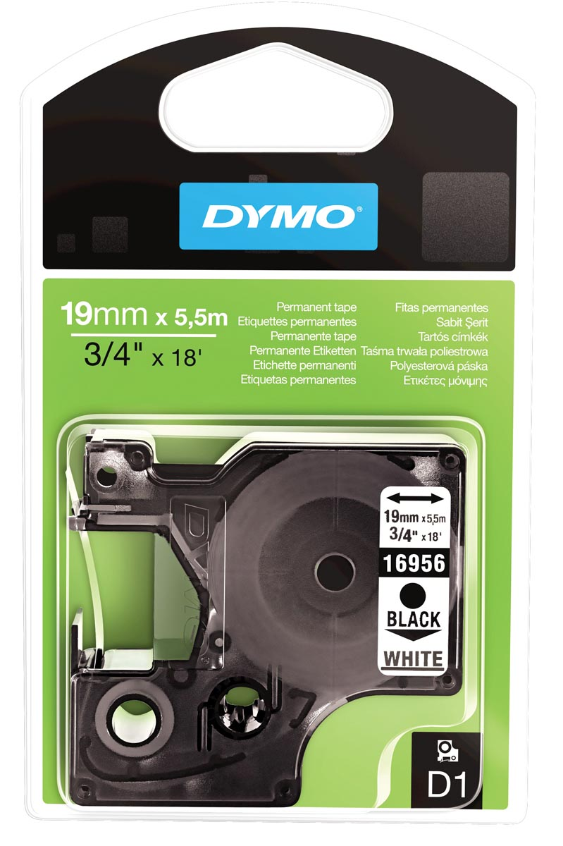 Dymo D1 permanente polyestertape 19 mm, zwart op wit