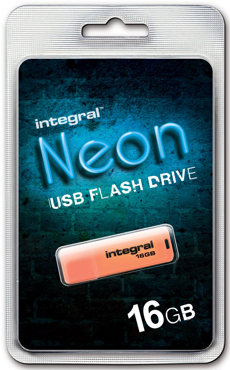 Integral Neon USB 2.0 stick, 16 GB, oranje