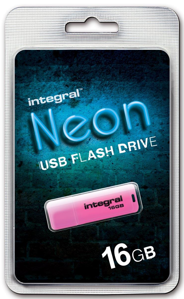 Integral Neon USB 2.0 stick, 16 GB, roze