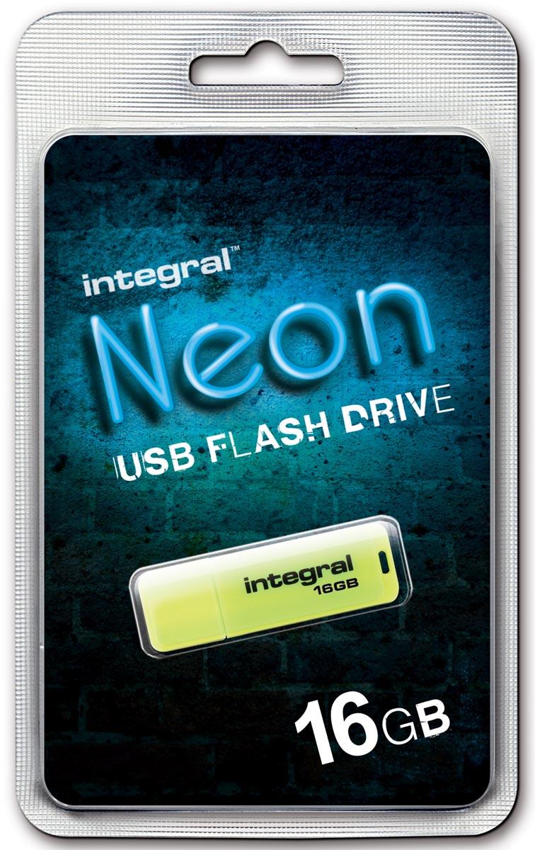 Integral Neon USB 2.0 stick, 16 GB, geel