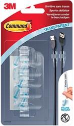 Command kabelclip, small, draagvermogen 225 gram, transparant, blister van 4 stuks