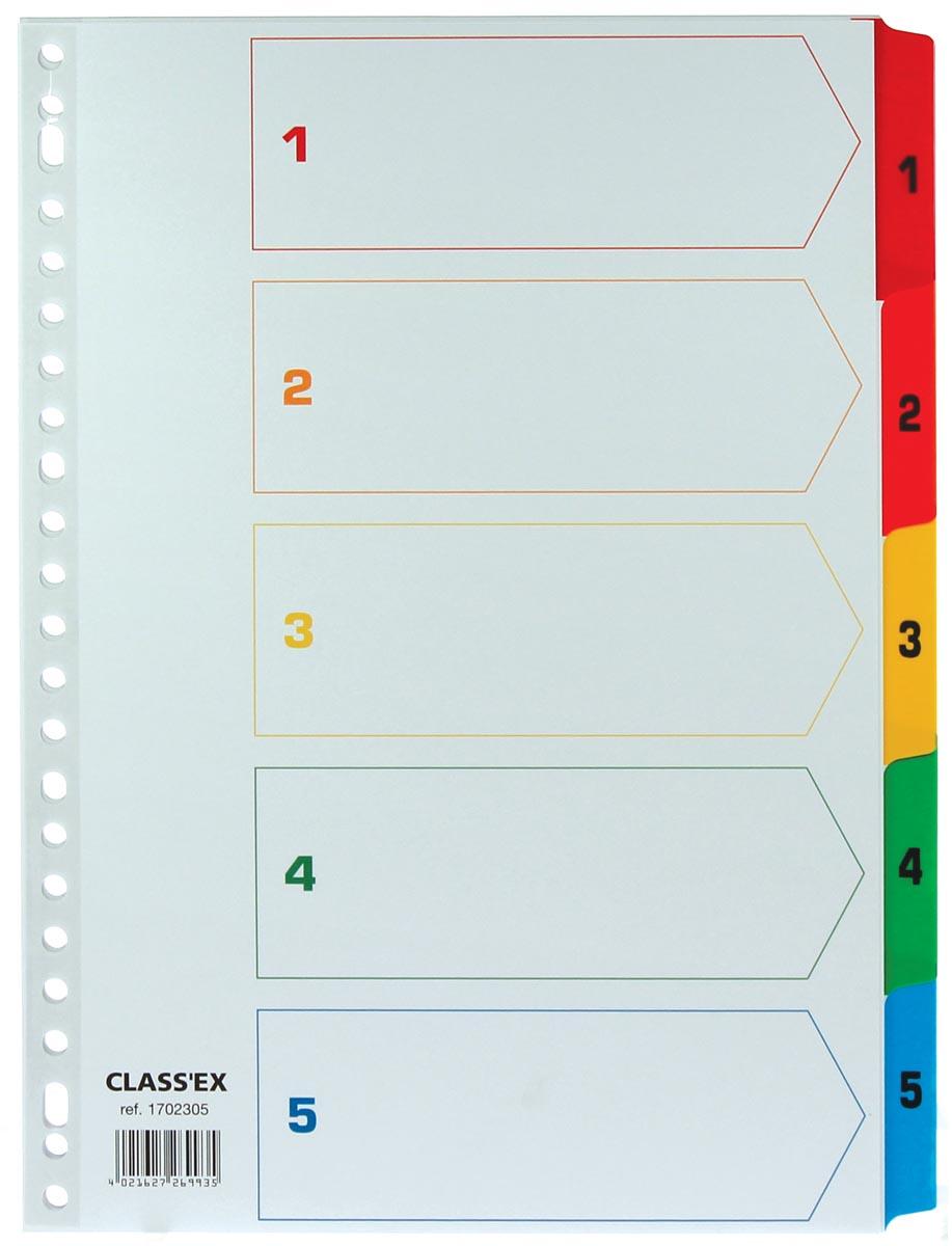 Class'ex tabbladen set 1-5, gekleurde tabs