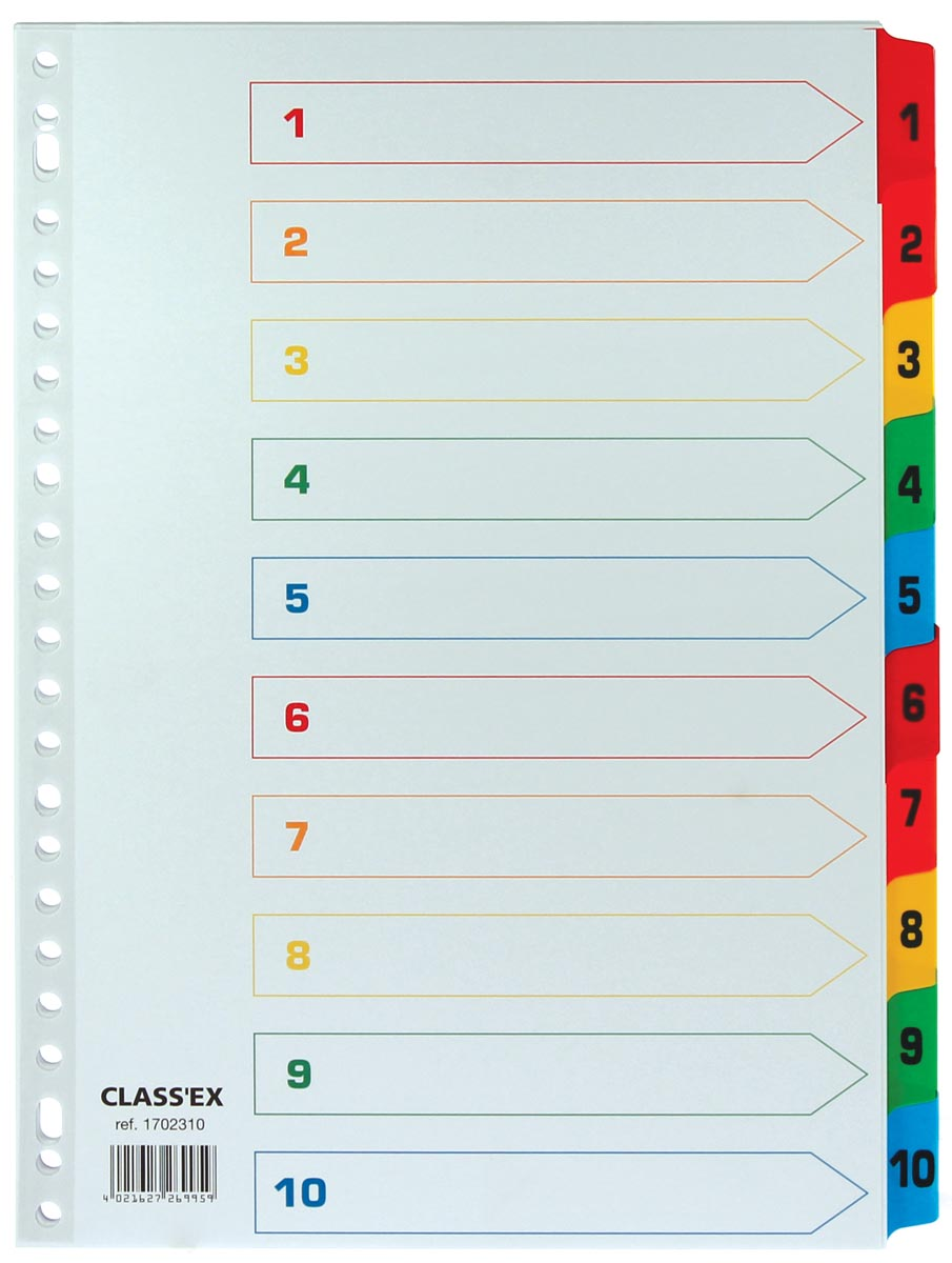 Class'ex tabbladen set 1-10, gekleurde tabs