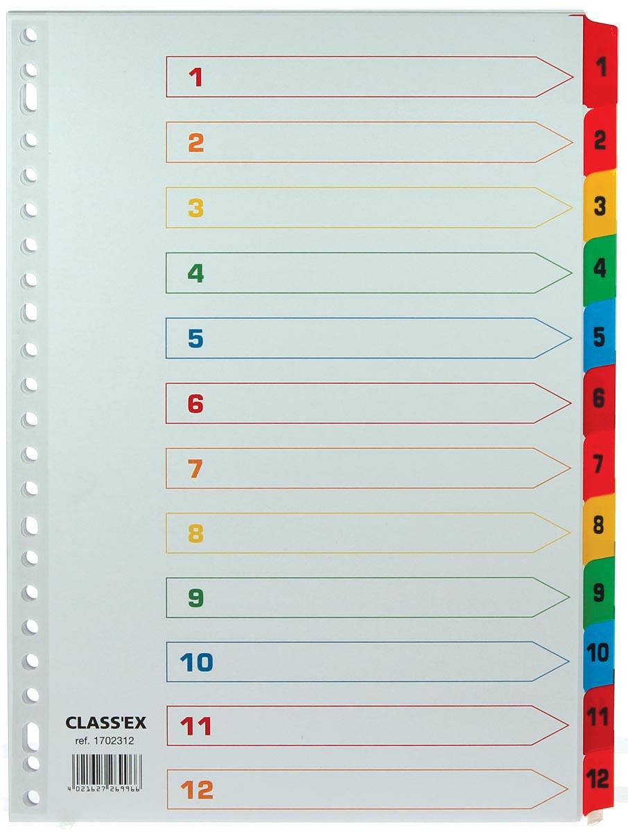 Class'ex tabbladen set 1-12, gekleurde tabs