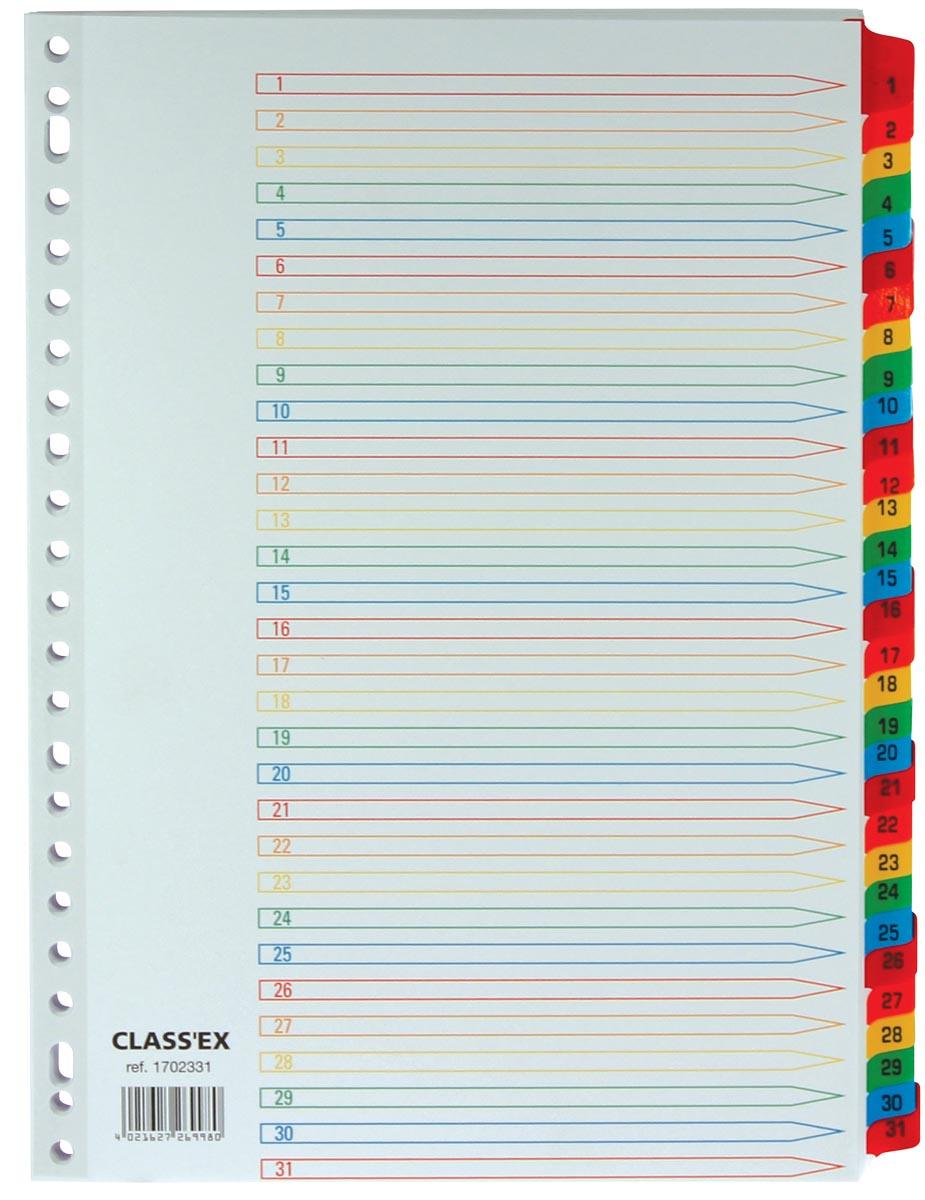 Class'ex tabbladen set 1-31, gekleurde tabs