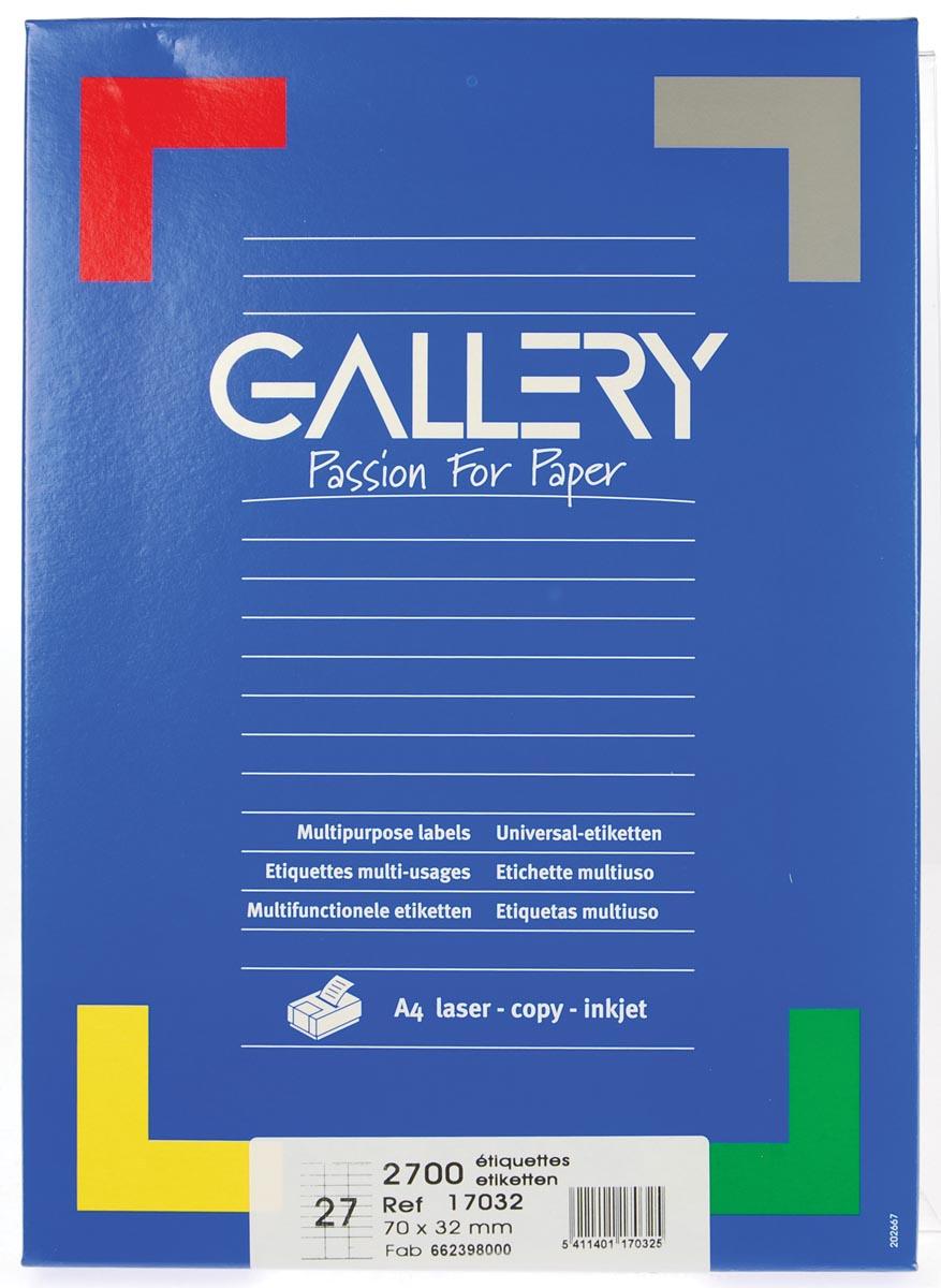 Gallery witte etiketten ft 70 x 32 mm (b x h), rechte hoeken, doos van 2.700 etiketten