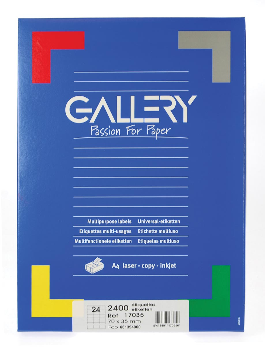 Gallery witte etiketten ft 70 x 35 mm (b x h), rechte hoeken, doos van 2.400 etiketten