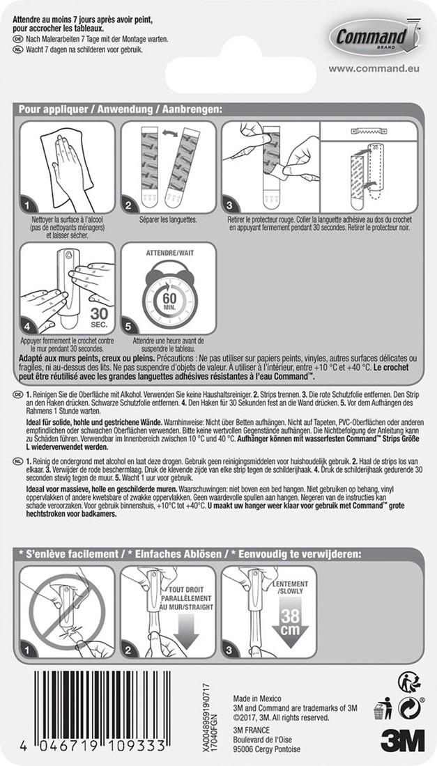 Command Accroche Tableau Pour Crochet Avec Dents De Scie Capacite 2 3 Kg Blanc Sous Blister Bij Vindiq Office