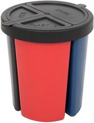 Inzetbak met 3 compartimenten om te sorteren, totale inhoud van 15 liter