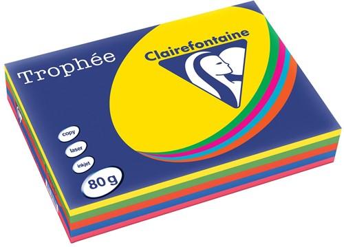 Clairefontaine Trophée intens A4, geassorteerde kleuren, 80 g, 5x100 vel