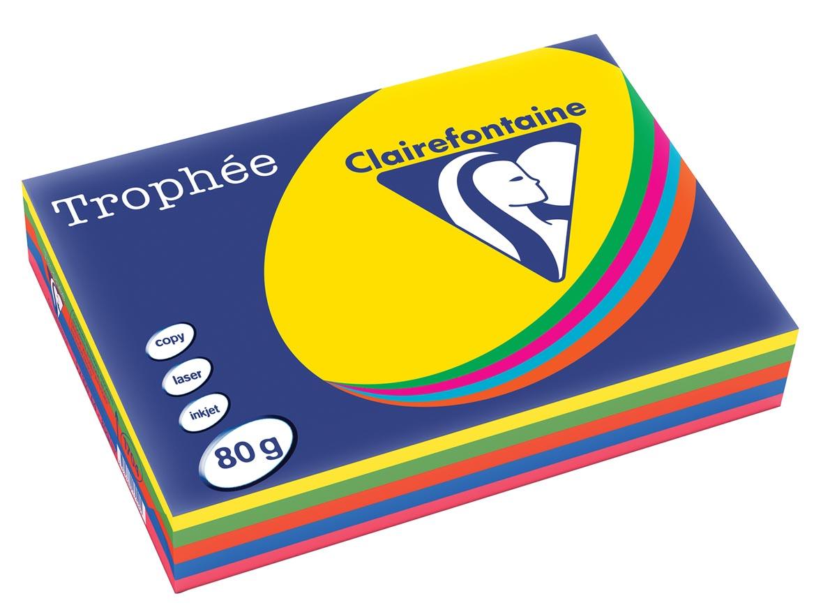 Clairefontaine Troph�e intens A4, 80 g, 5 x 100 vel, geassorteerde kleuren