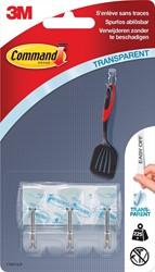 Command decohaak, small, draagvermogen 225 gram, transparant met metalen draadeinde, blister van 3 stuks