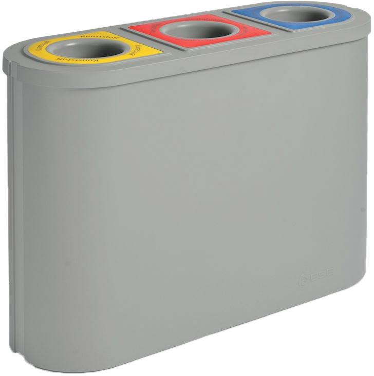 Eko afvalscheider Triomf, inhoud 3x45 L, grijs