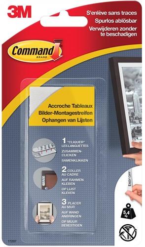 Command fotolijststrip, small, draagvermogen 5,4 kg, wit, blister van 4 stuks