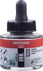 Amsterdam acryl inkt, flacon van 30 ml, zilver