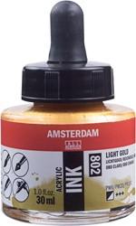 Amsterdam acryl inkt, flacon van 30 ml, lichtgoud