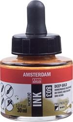 Amsterdam acryl inkt, flacon van 30 ml, donkergoud