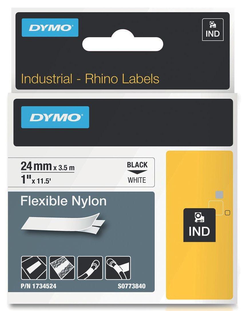 Dymo RHINO flexibele nylontape 24 mm, zwart op wit