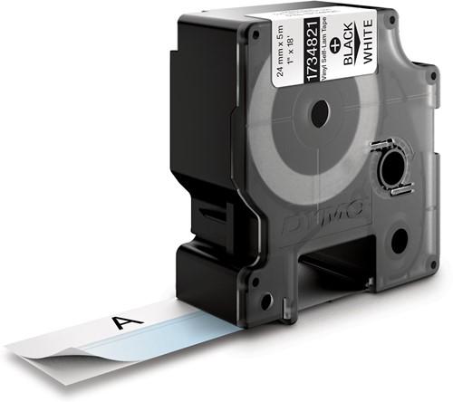 Dymo RHINO zelflaminerende tape, ft 24 mm x 5,5 m, zwart op wit