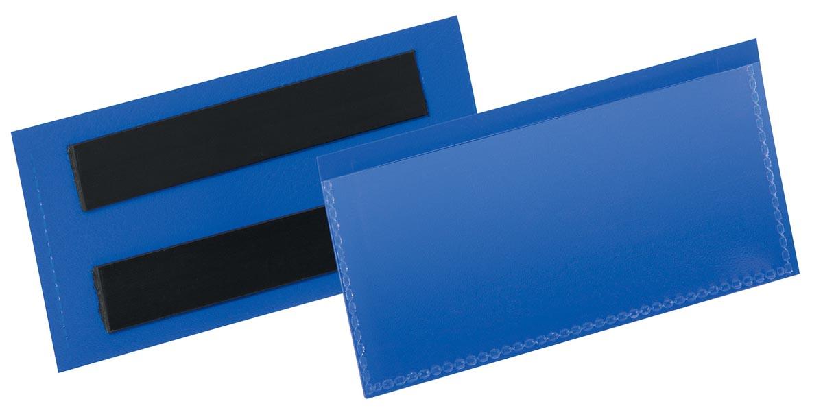 Durable magnetische labelhoes blauw, pak van 50 stuks, ft 100 x 38 mm