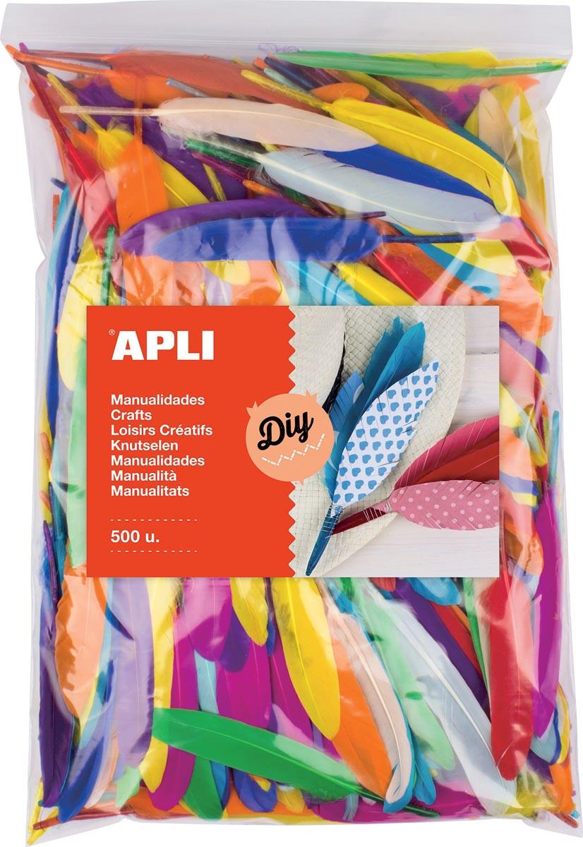 Apli pluimen, zakje met 500 stuks in geassorteerde kleuren