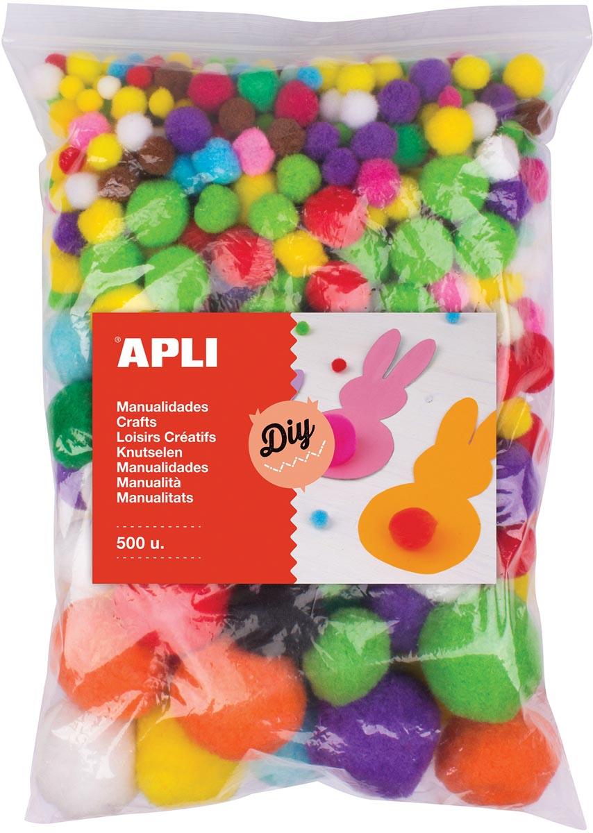 Apli pompons, zakje met 500 stuks in geassorteerde kleuren
