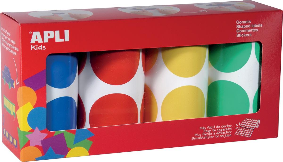 Apli Kids stickers XL cirkels, diameter 45 mm, doos met 4 rollen in 4 kleuren