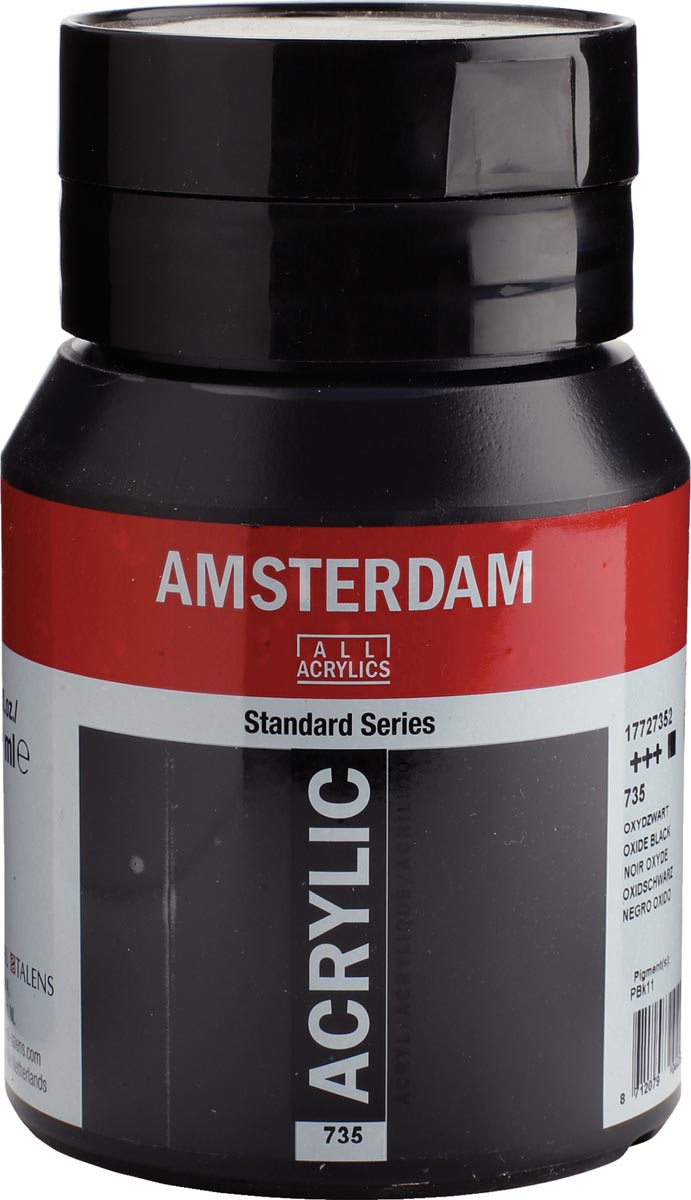 Amsterdam acrylinkt, flesje van 500 ml, oxydzwart