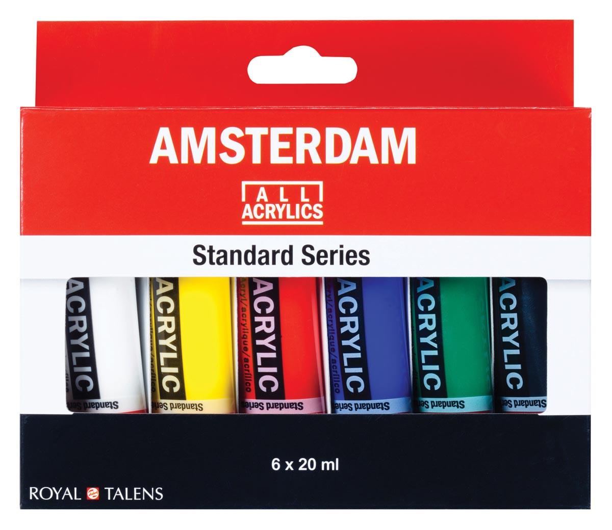 Amsterdam acrylverf tube van 20 ml, etui van 6 tubes