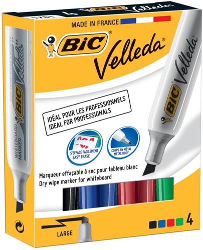 Bic whiteboardmarker Velleda 1781 doos van 4 stuks in geassorteerde kleuren