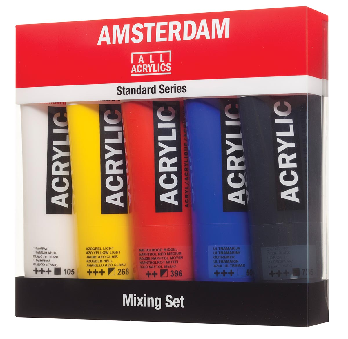 Amsterdam acrylverf tube van 120 ml, doos met 5 tubes in niet-primaire kleuren