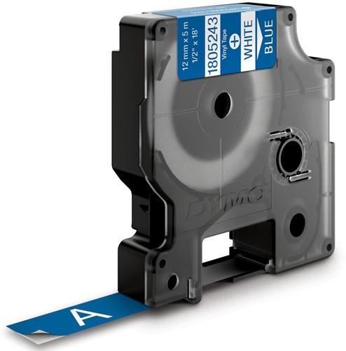 Dymo RHINO vinyltape 12 mm, wit op blauw-2