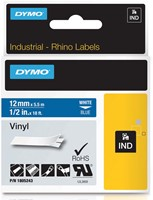 Dymo RHINO vinyltape 12 mm, wit op blauw