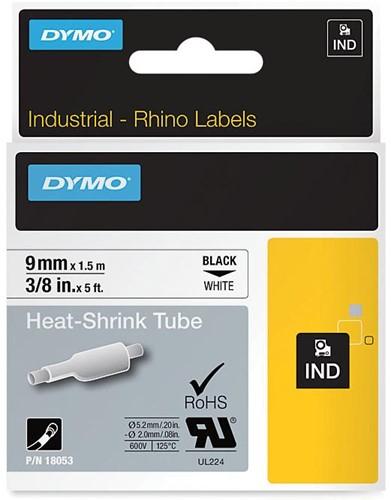 Dymo RHINO krimpkous 9 mm, zwart op wit